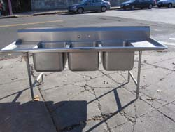 Wonderful 3 Compartment Stainless Steel Sinks Will Fit Full Size Sheet Pans Used Good  Condition