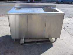 Lovely Stainless Steel Table With Sink U0026 Trash Hole U0026 S/S Garbage Can Used Very