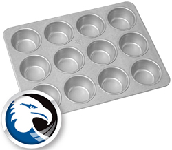 Chicago Metallic Aluminized Steel Jumbo-Muffin Pan, 12 Cavities 3-1/2 Top Inner Diameter, 1-1/4 Deep.