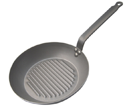 de Buyer Grill Fry Pan, Carbone Plus Steel