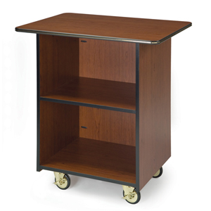 Geneva 6610001 Compact Enclosed Service Cart - 1 Fixed Shelf - Gray Sand Laminate Finish
