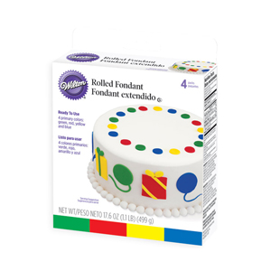 Wilton Rolled Fondant, Multi Pak, Primary Colors: Green, Red, Yellow, Blue. Each Color: 4.4 oz. - 710-445