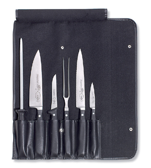 f dick 6 piece professional knife set with roll bag knife sets bakedeco com. Black Bedroom Furniture Sets. Home Design Ideas