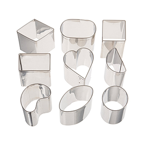 Ateco 9-Piece Stainless Steel Petit Four Cutter Set, Item 2009