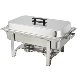 Winco 8-Quart Full-Size Newburg Oblong Chafer, Stainless Steel