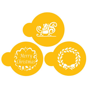 Designer Stencils Decorating Cookie/Cupcake Stencil, Holiday Christmas Greetings, easily fit on 3 round cookies