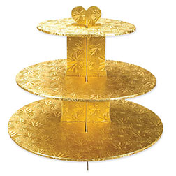 gold foil covered 3tier cupcake stand