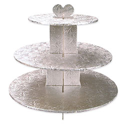 silver foil covered 3tier cupcake stand