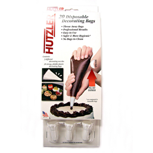 Hutzler Disposable Decorating Bag With 3 Diffe Tips Pack Of 20