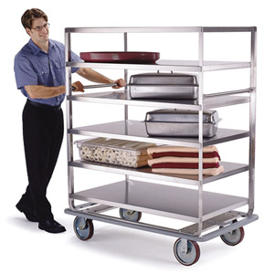 Lakeside LA566 Stainless Steel Tough Transport Banquet Cart 5 Shelf 28 x 62 - 3 Edges Up, 1 Down