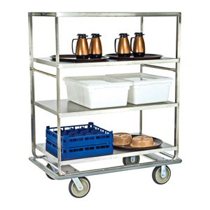 Lakeside LA581 Stainless Steel Tough Transport Banquet Cart 3 Shelf 28 x 46 - 3 Edges Up, 1 Down