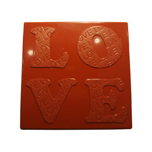 Polycarbonate Chocolate Mold: Love Tablet 75x75mm x 6mm High, 6 Cavities