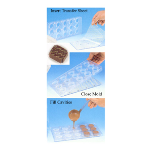 Magnetic Polycarbonate Chocolate Mold 2 pc. Rectangle with Indented Corners, 1-3/8 x 1 x 0.5 High, 15 Cavities