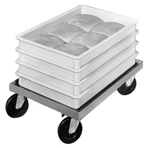 Channel Dough-Box Dolly, Aluminum, 17-3/4 W, 25-1/4 D, 7-1/2 H