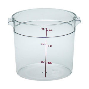 Cambro RFSCW6135 Round Storage Container Clear 6 Qt. (lid sold separately)