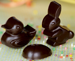 Silikomart Silicone Chocolate Mold: Easter Shapes, 30mm x 43mm x 16mm Deep, 14 Cavities, Total Volume 88 Milliliters