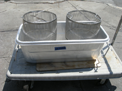 Custom Strainers and Tub Hardly Used Excellent Condition