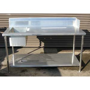 Custom Made Commercial Stainless Steel Kitchen Table U0026 Sink New 66