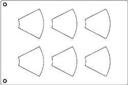 Tuile Template, Cone, 3-5/8 x 3 Each. Overall Sheet 10.5 x 15.5