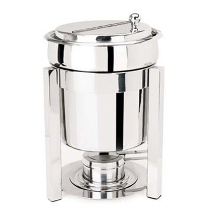 Eastern Tabletop 3107P2 7 Qt. Petite Marmite Sauce Stand P2 Square Style - Stainless Steel
