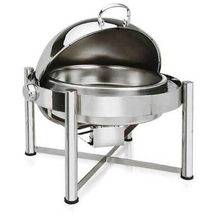 Eastern Tabletop 3128 8 qt. Round Pillar'd Rolltop Chafer - Stainless Steel