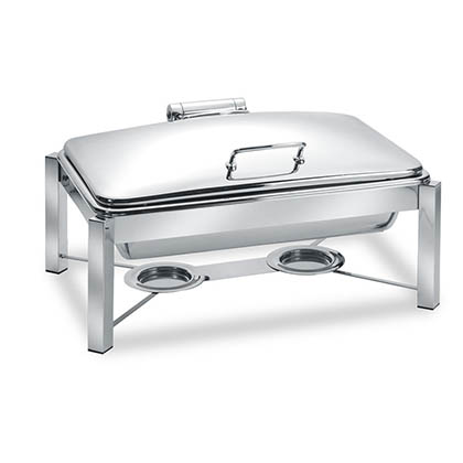 Eastern Tabletop 3945S 6 Qt. Round Induction Chafer w/ Hinged Dome Cover and Stand - Stainless Steel