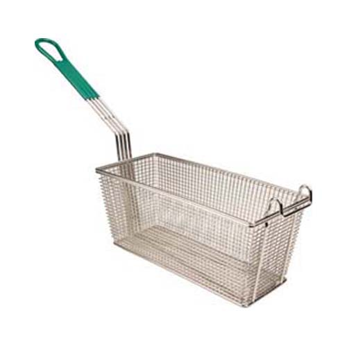 FMP Fry Basket With Plastic-Coated Handle, 13-1/4 x 5-3/4 x 5-3/4: Twin, Front Hook