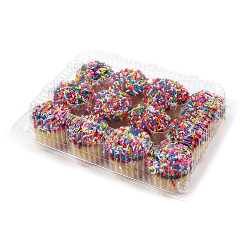Hinged Clear Plastic Container for 12 Mini Muffins, Pack of 10