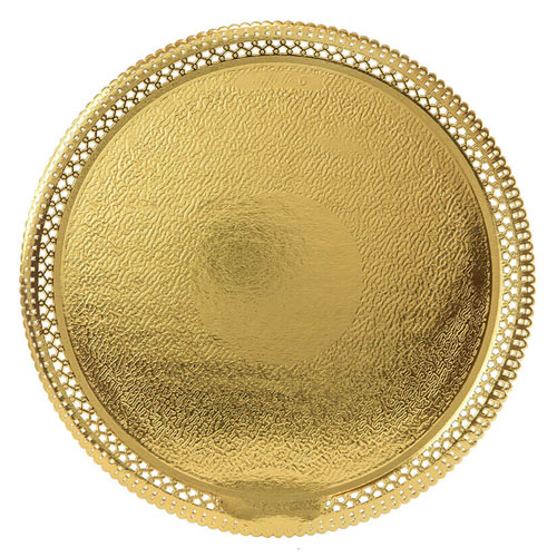 Novacart Gold Lace Round Cake Board, Inside 12-3/8 - Pack of 25