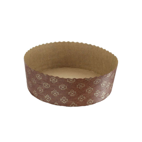 Novacart Panettone Basso Disposable Baking Mold 6-1/8 Diameter, 2-1/8 High - 540/Case