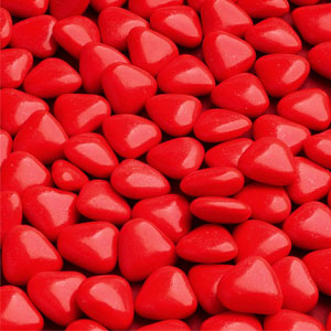 Small Red Chocolate Hearts, 12mm