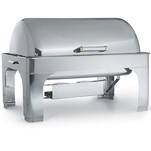Vollrath Chafing Dish, Fully Retractable 9Qt. Rectangle with Dripless Water Pan, 3-position dome cover