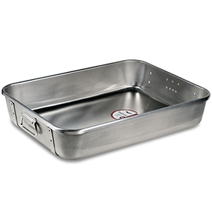 Vollrath Reinforced Roast & Bake Pan with 2 Steel Bands. Heavy Ga. Aluminum 18 x 24 x 4-3/4 High, 28Qt. Capacity