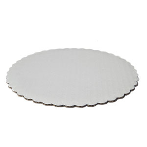 White Scalloped Round Circle Cake Board