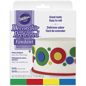 Wilton Rolled Fondant, Multi Pak, Primary Colors: Green, Red, Yellow, Blue. Each Color: 4.4 oz. - 710-2311