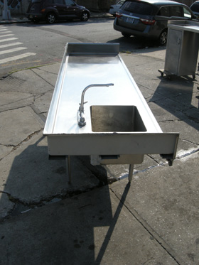 Custom Made Commercial Stainless Steel Kitchen Table & Sink Used Used ...