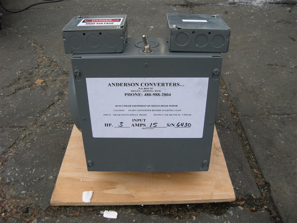Anderson Rotary Phase Converter 3 Hp 15 Amps New Used