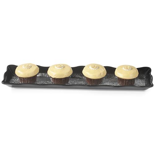 "G. E. T. Melamine Display Tray, Scallop Edged, Bake & Brew Series, 23"" x 5.25"" - Black ML-113-Bk"