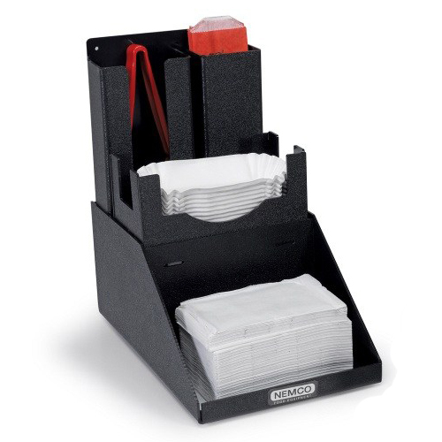 Nemco 88500 Organizer for Hot Dog Accessories - Organizer for Hot Dog Tongs & Boats, with Napkin-Holder Base 88500-CO4