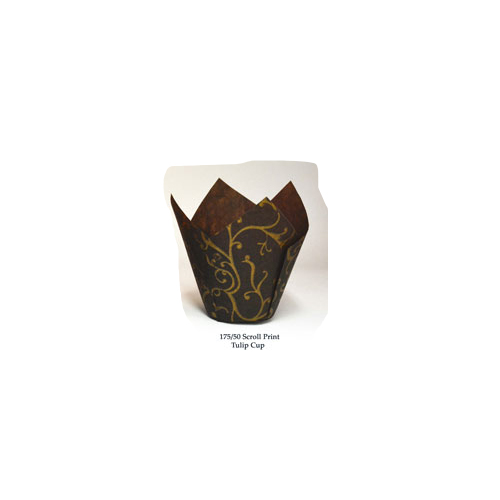 "Novacart Brown Scroll Tulip Disposable Baking Cup  - 2-3/4"" to 4"" High 175/50 BROWN SCROLL"