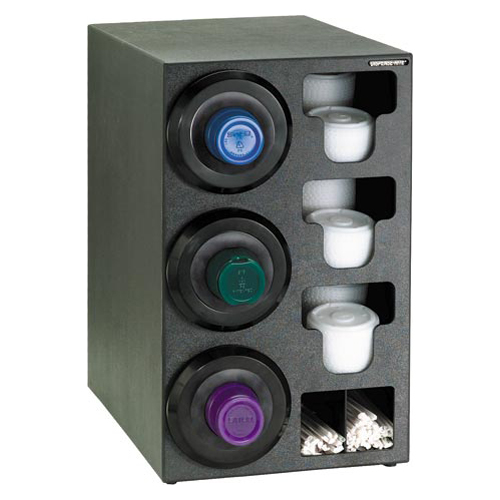 Dispense-Rite Countertop 3-Cup Dispensing with Built-In Lid and Straw Organizer - Left SLR-C-3LBT