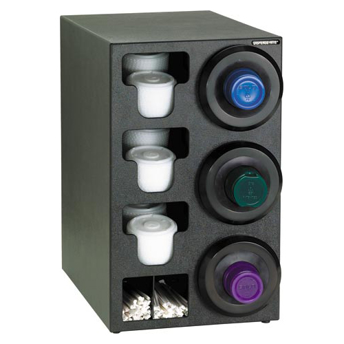 Dispense-Rite Countertop 3-Cup Dispensing with Built-In Lid and Straw Organizer - Right SLR-C-3RBT