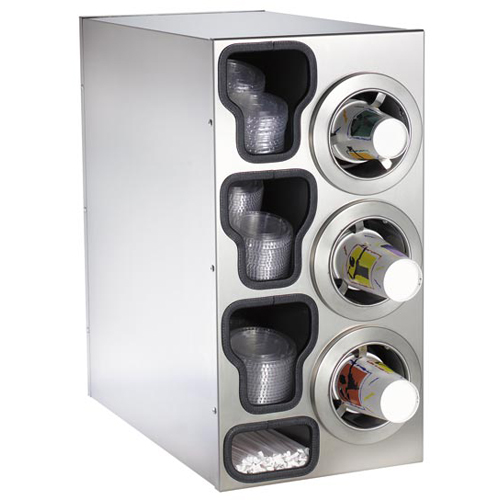Dispense-Rite Countertop 4-Cup Dispensing S/S w/ Built-In Lid & Straw Organizer - Right CTC-C-3RSS