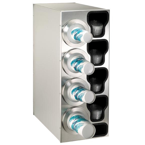 Dispense-Rite Countertop 3-Cup Dispensing S/S w/ Built-In Lid & Straw Organizer - Left BFL-C-4LSS
