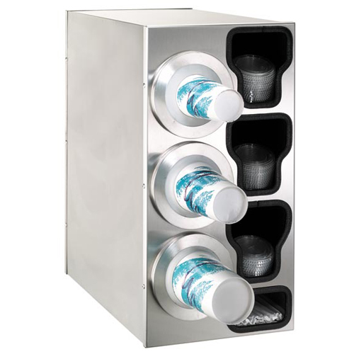 Dispense-Rite Countertop 4-Cup Dispensing S/S w/ Built-In Lid & Straw Organizer - Left BFL-C-3LSS