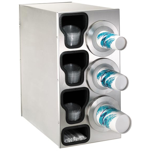 Dispense-Rite Countertop 4-Cup Dispensing S/S w/ Built-In Lid & Straw Organizer - Right BFL-C-3RSS