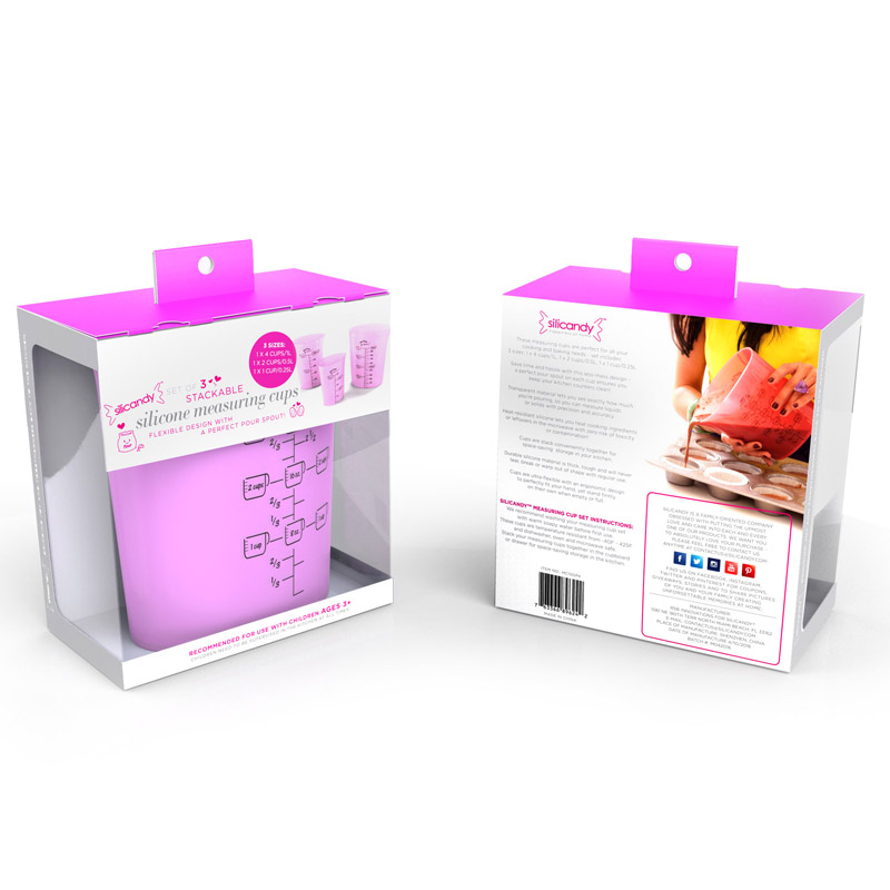 Silicandy Translucent Silicone Measuring Cups, Set of 3 - Pink MC100PK