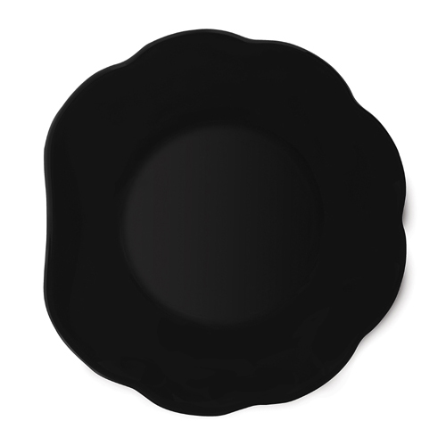 Melamine Plate, Scallop Shape, Black Elegance Series, 8