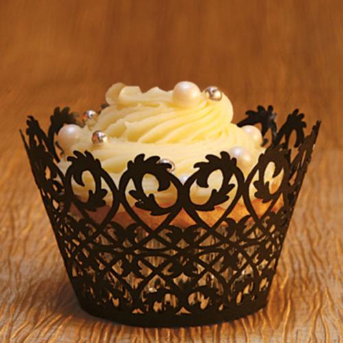 Filigree Cupcake Wrapper, Black