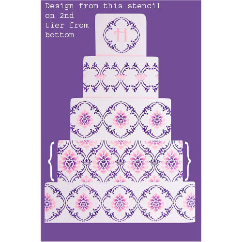 Designer Stencil Royal Damask Tier #4